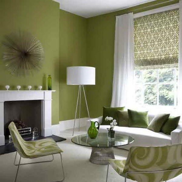 Avocado Green Living Room.