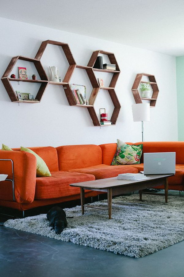 White Painting Living Room with Honeycomb Shelves.