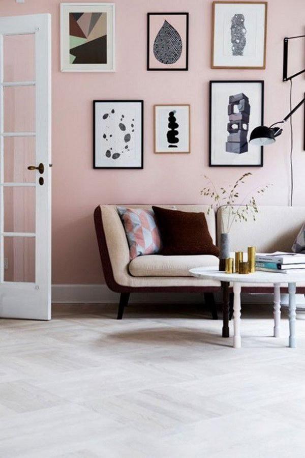 Pale Pink Living Room.