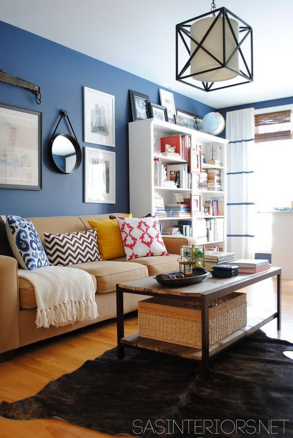 Blue Painted Living Room.