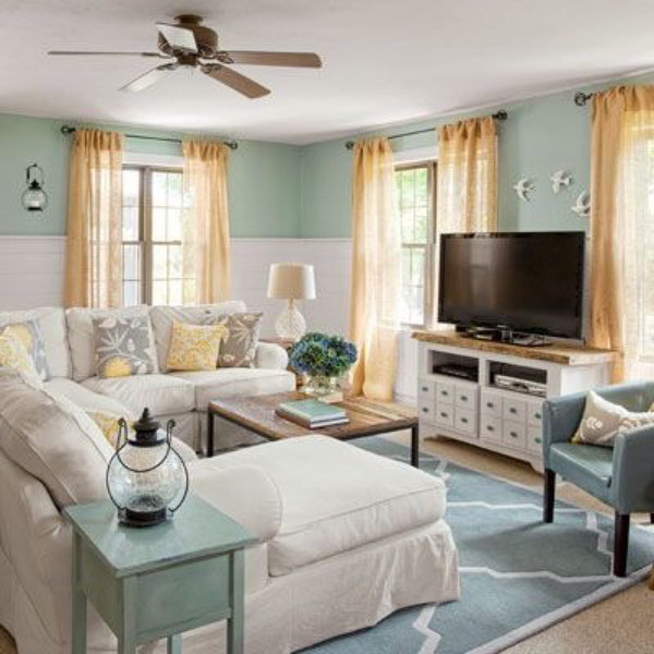 Pretty Living Room Colors Interesting Of Cottage Family Room Decorating Image