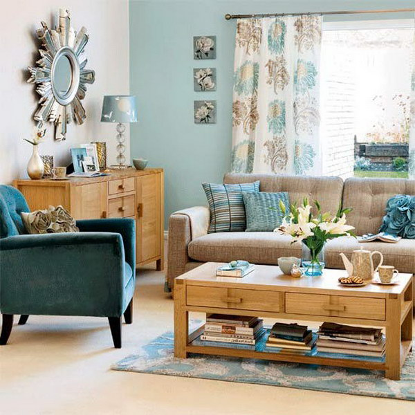 Duck Egg Blue Living Room.