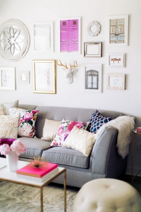 White Painting Living Room With Floral Patterns