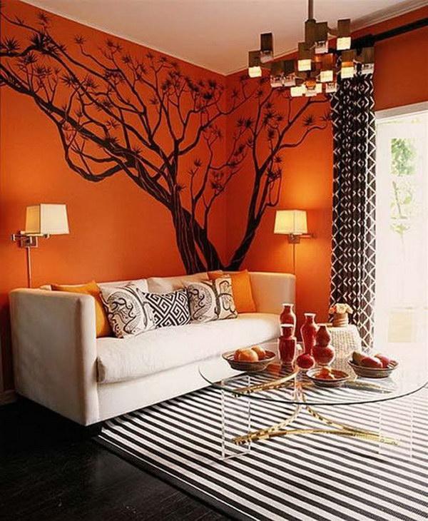 Stricking Orange Painted Living Room.