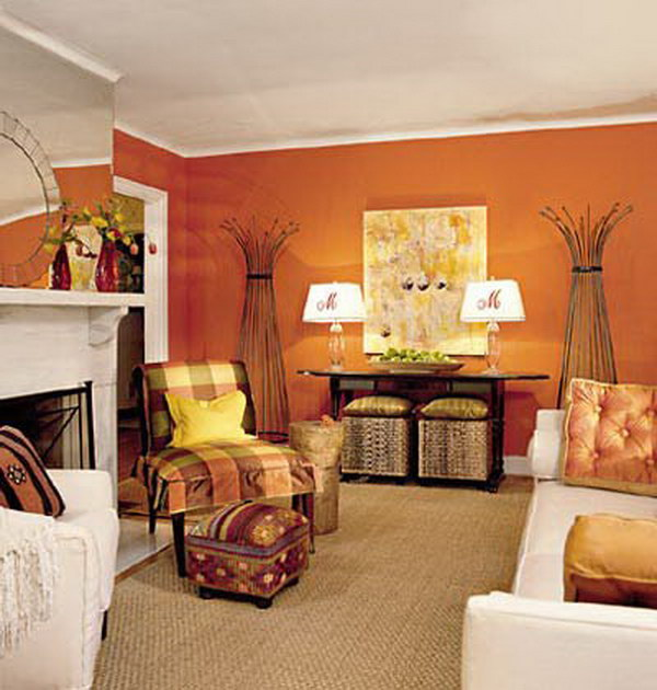 tangerine orange living room with white furniture
