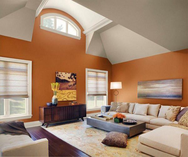 Orange Modern Living Room.