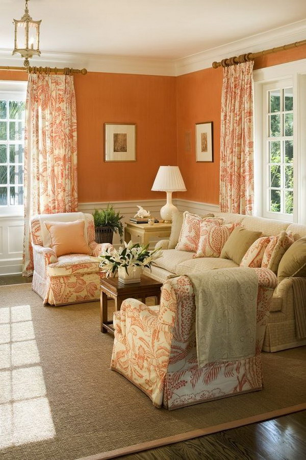 Orange curtains living room - Curtains with orange walls ...