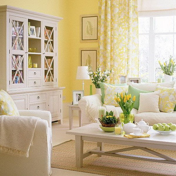 Bright Sunny Yellow Walled Living Room