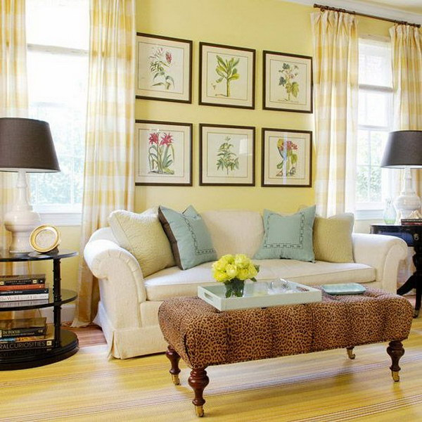 Pretty living room colors for inspiration hative for Yellow brown living room ideas