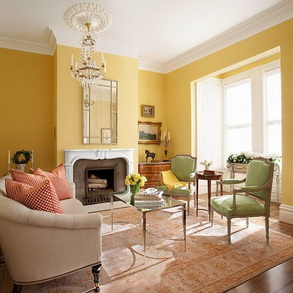 Bright Living Room With Yellow Painted Wall