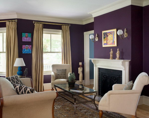 Pretty living room colors for inspiration hative - Gray and plum living room ...