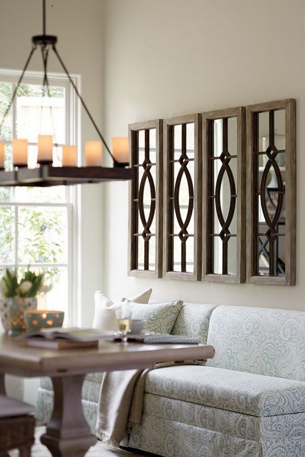 Multiple Transom Mirrors for Living Room Decoration.