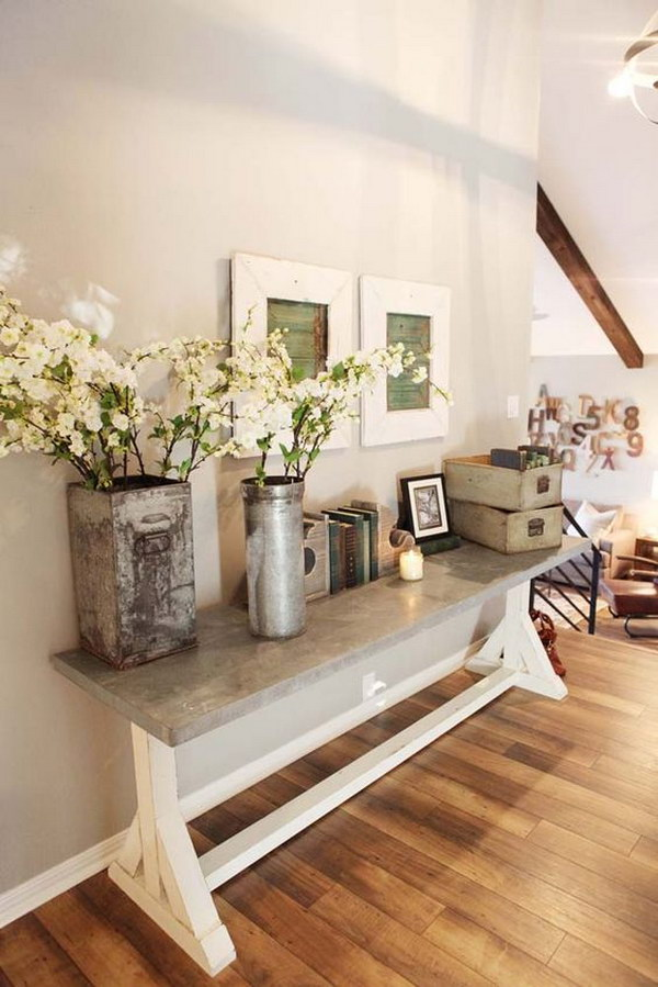 Foyer Console Decor : Enchanting farmhouse entryway decorations for your