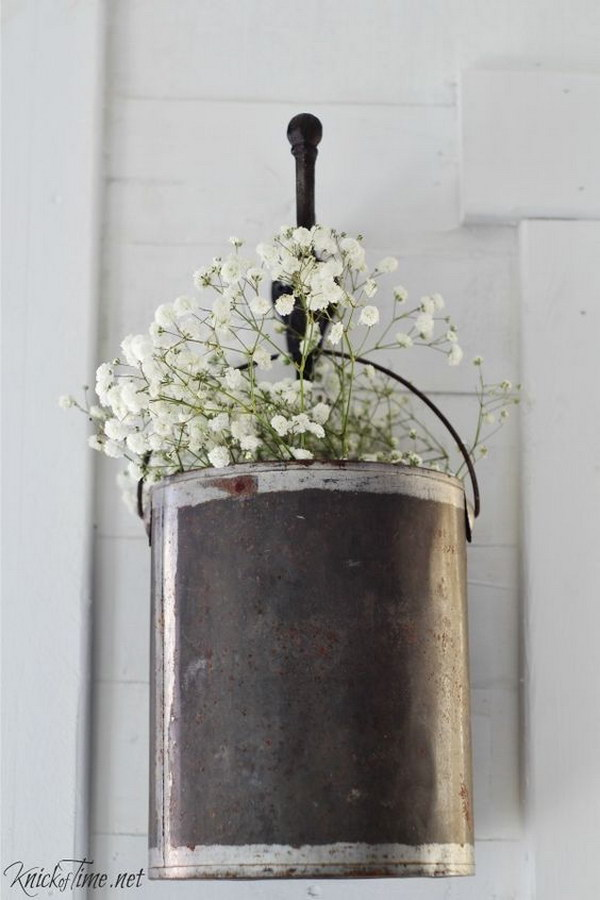 Upcycle A Paint Can Into Farmhouse Style Flower Pot For The Entry.