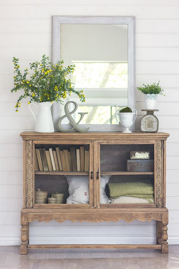 Vintage Cabinet for Cottage-Style Entry.