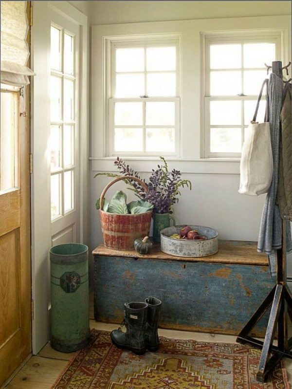 Mix Rustic With Formal for Entryway Decor.