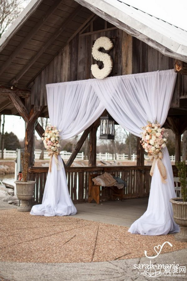 50 budget friendly rustic real wedding ideas hative wedding venue with draped fabric for dramatic entrance junglespirit Image collections