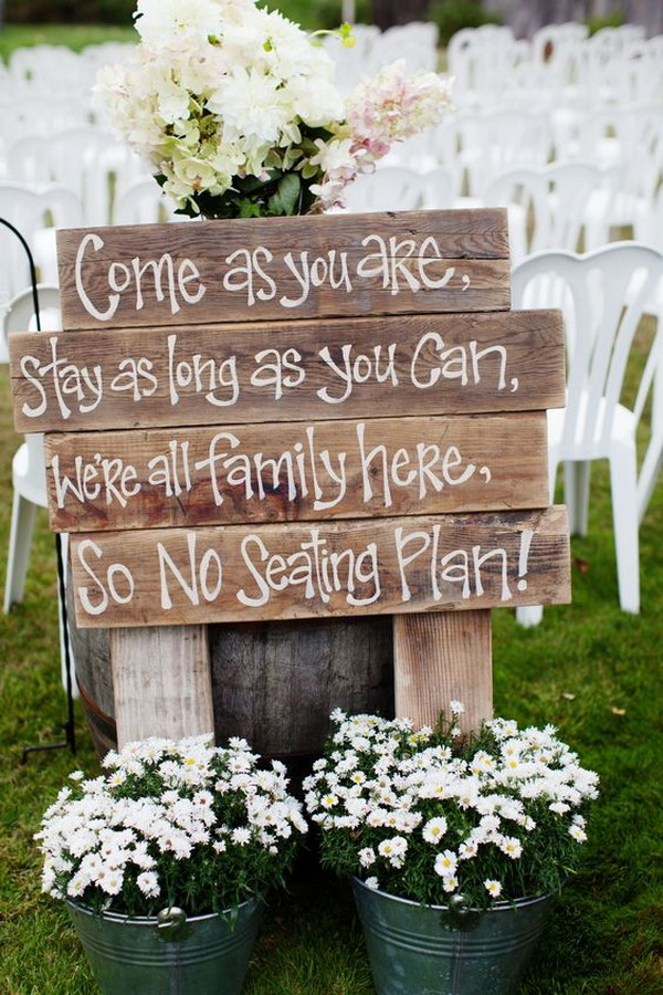50 budget friendly rustic real wedding ideas hative rustic sit anywhere sign junglespirit Gallery