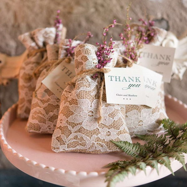 Rustic Chic Burlap And Lace Favor Bags