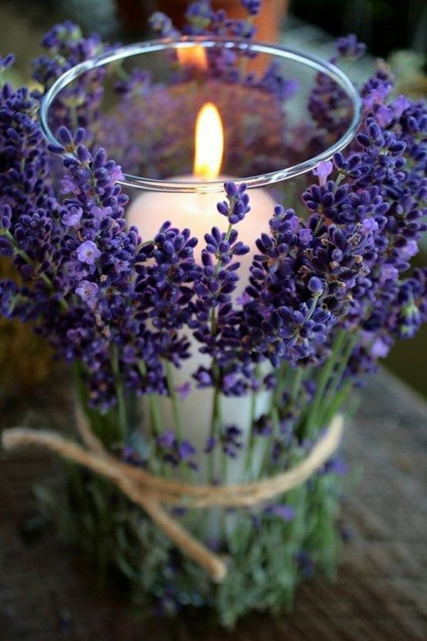 DIY Rustic Wedding Lavender Candle Holder