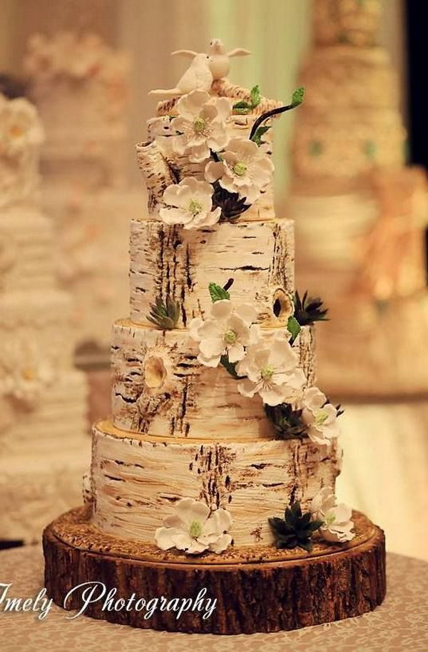 wedding cake that looks like tree bark 50 budget friendly rustic real wedding ideas hative 26249
