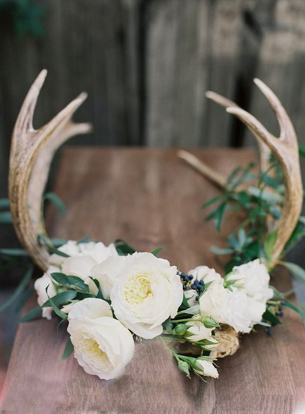 50 budget friendly rustic real wedding ideas hative for Antler decoration