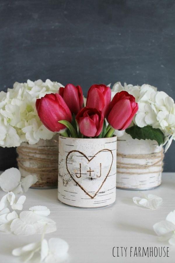 DIY Birch Flower Vases