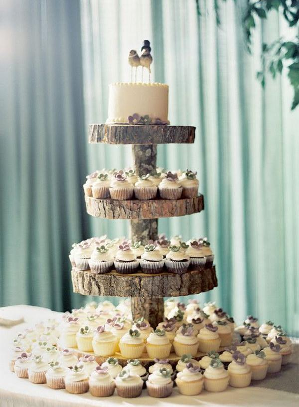 Rustic Wedding Tree Stump Cupcake Stand