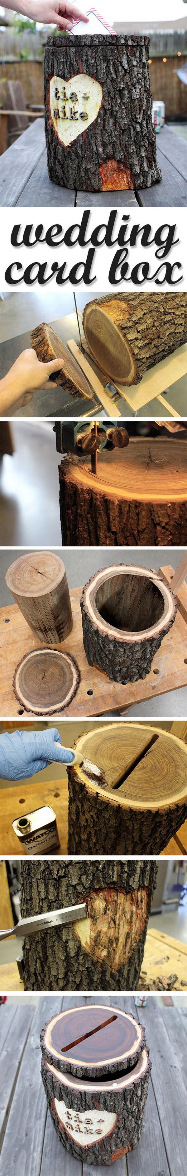 DIY Rustic Log Card Box