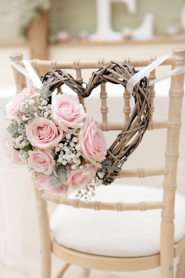 50 budget friendly rustic real wedding ideas hative gorgeous wedding chair decorations with pink roses and heart shaped wreath junglespirit Image collections