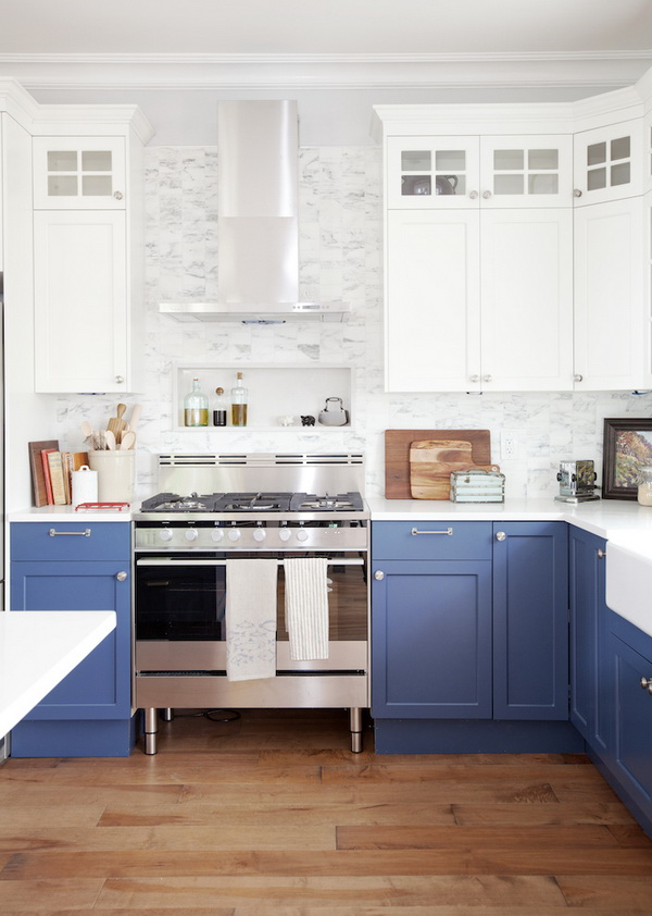 Fresh Kitchen With Blue And White Cabinets