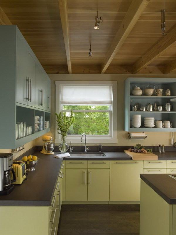 Pale Bule and Green Painted Kitchen Cabinets.