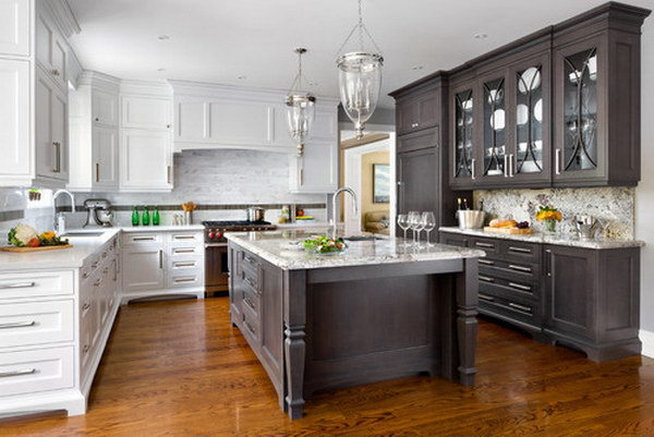 Dark Brown And White Two Tone Kitchen Cabinets With Extended Island