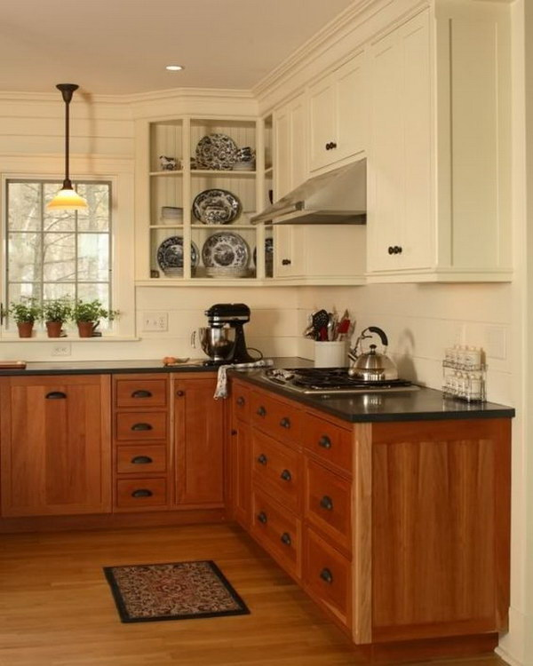 Off White And Warm Wood Kitchen Cabinets