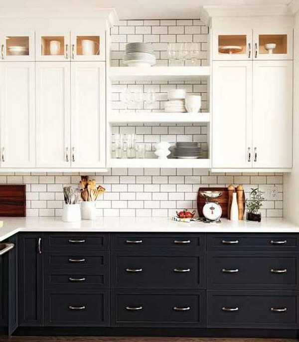 Whitewashed And Dark Gray Two Tone Kitchen Cabinets