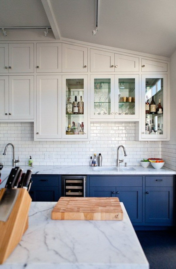 Navy and White Kitchen Cabinets.