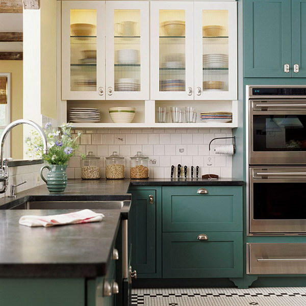 Teal Green and White Kitchen Cabinets.