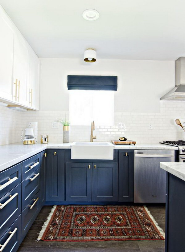 Navy Blue And White Kitchen Cabinets With Gold Hardware