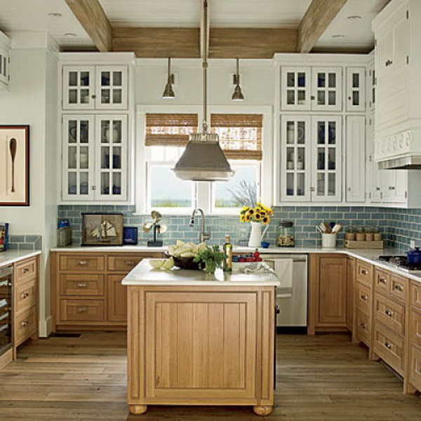 Stylish two tone kitchen cabinets for your inspiration Kitchen colors with natural wood cabinets