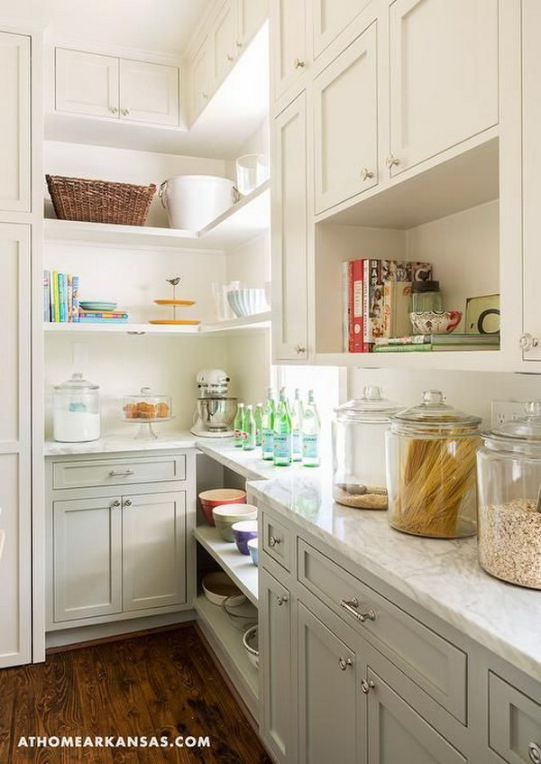 Two Tone Kitchen Pantry With Cream White And Gray Cabinets