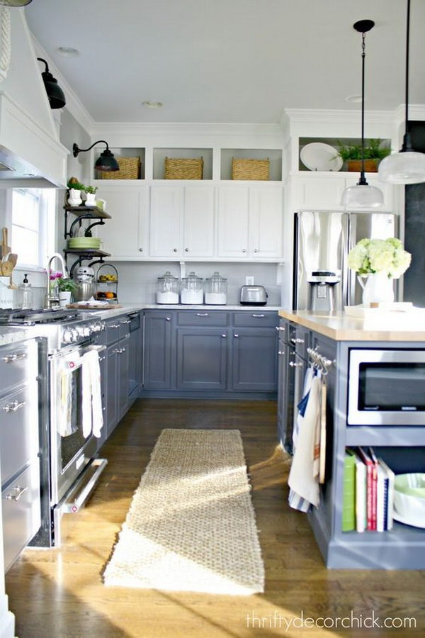 White and Gray Kitchen Cabinets.