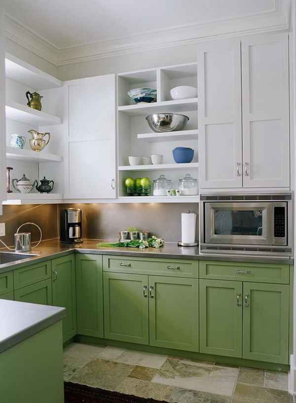 Soft Green and White Kitchen Cabinets.