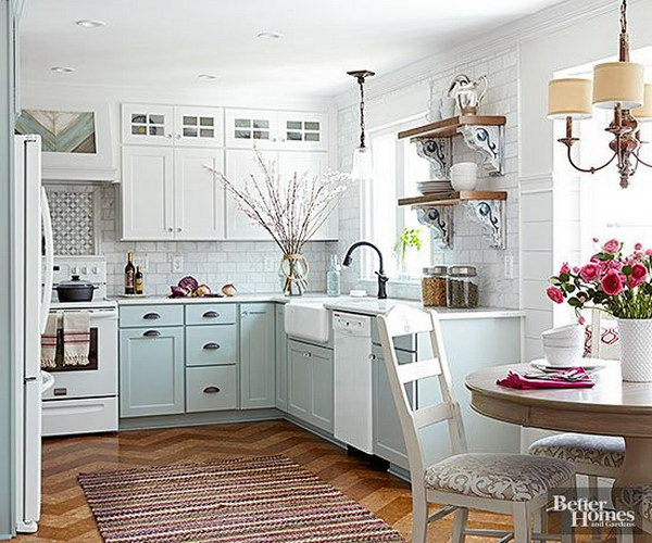 White Kitchen Cabinet Colors: Stylish Two Tone Kitchen Cabinets For Your Inspiration