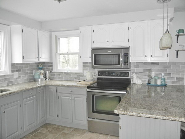 Two tone grey kitchen cabinets for Kitchen cabinets 2 tone