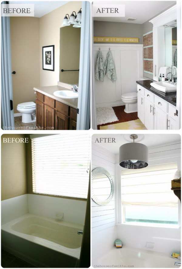 Before and after 20 awesome bathroom makeovers hative Cheap bathroom remodel before and after