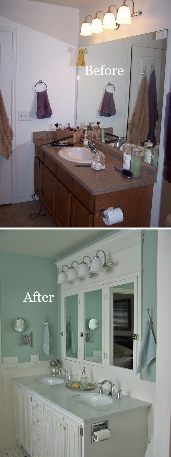 Master Bathroom Remodel With Blue Painted Walls.
