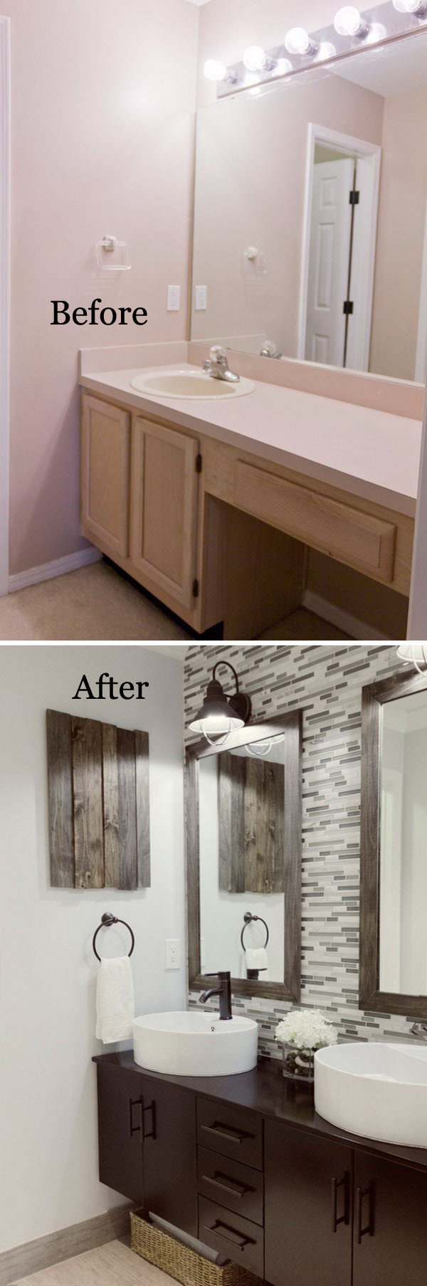 Before and after 20 awesome bathroom makeovers hative for Before and after small bathroom makeovers