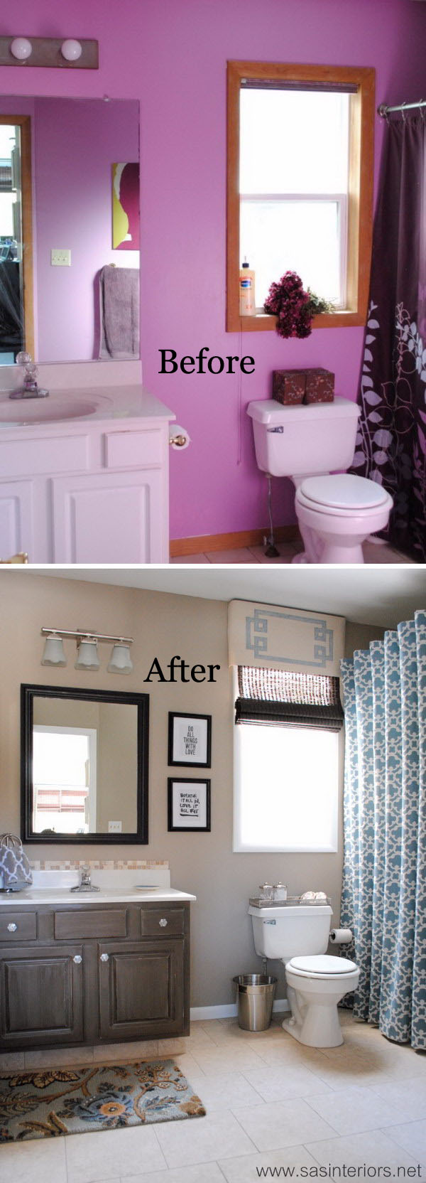From Horrid Purple To Heavenly Gray And Beige Master Bathroom Makeover