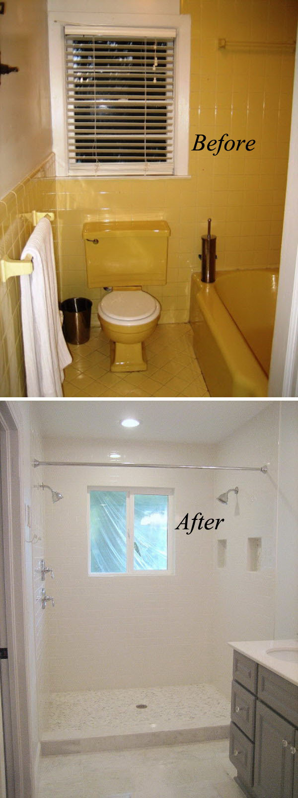 Gentil White Bathroom Remodel. From Yellow To White Bathroom Renovation Remodel