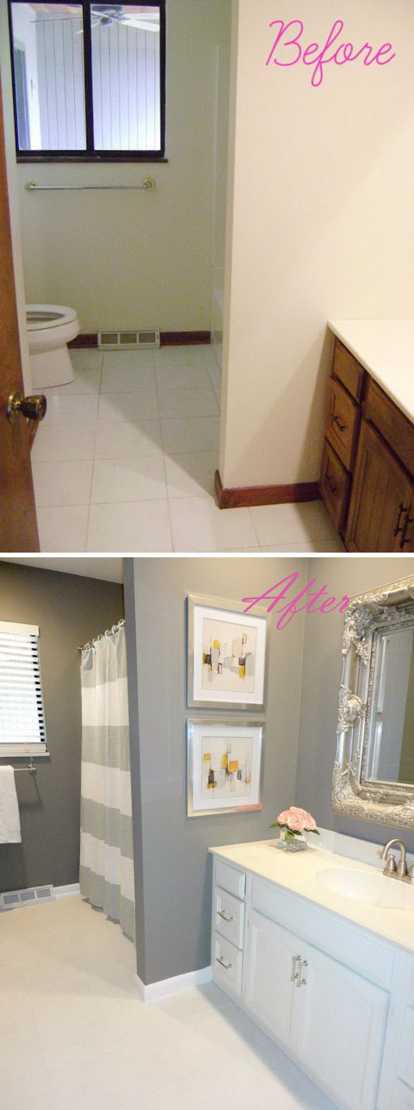 Before and after 20 awesome bathroom makeovers hative for Diy bathroom ideas on a budget